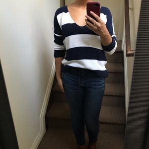 Express Comfy Blue & White Striped Sweater